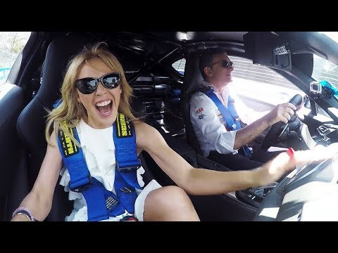 Kylie Minogue Spinning Around Santiago's ABB Formula E Circuit!