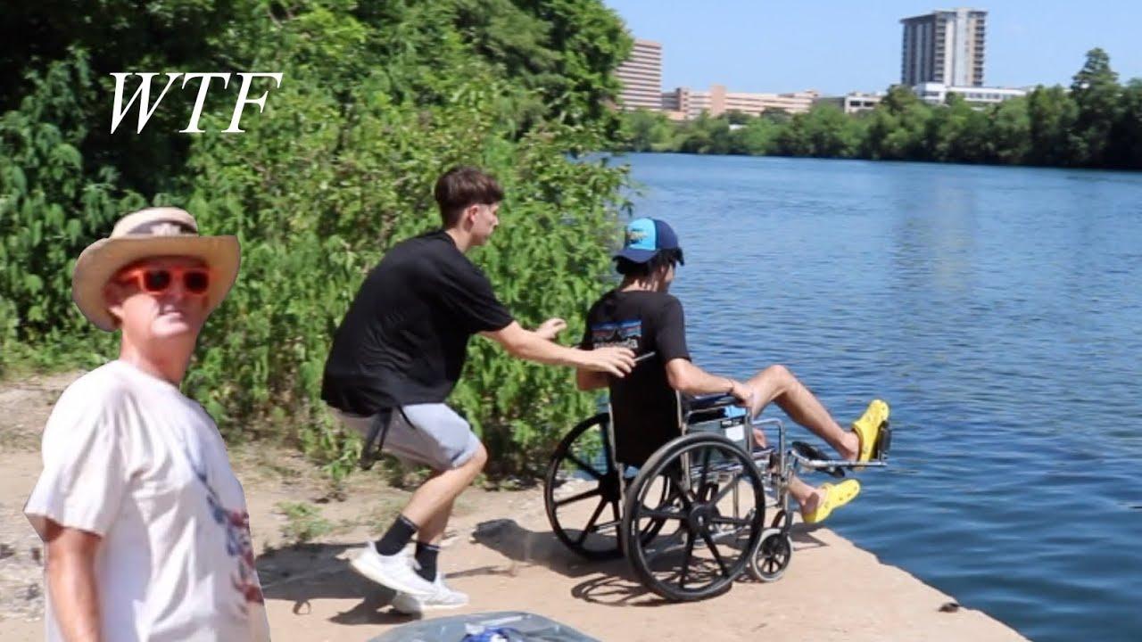 Pushing Crippled Person into Lake (Prank)