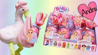 andre abriendo caja de bebes baby born surprise y jugando con muecas y juguetes para nias y nios