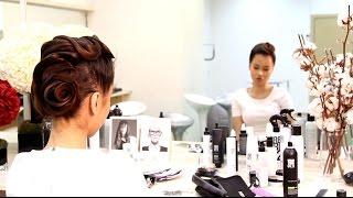 Вечерняя прическа с сеточками. Прическа на волосы средней длины. Обучение стилистов-парикмахеров