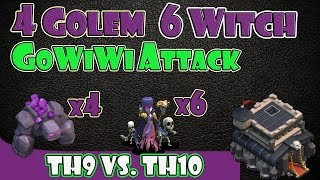 "Clash of Clans - TH9 vs TH10 | 4 Golem 6 Witch 2 Jump Spell GoWiWi Clan Wars Attack ""99% Fail"""