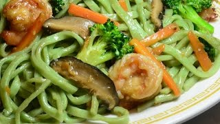 Stir Fry:  Spinach Noodles With Shrimps In  Oyster Sauce.