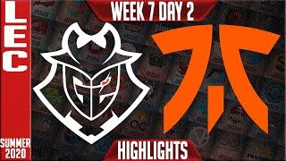 G2 vs FNC Highlights | LEC Summer 2020 W7D2 | G2 Esports vs Fnatic
