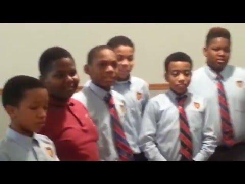 Baltimore Collegiate School for boys reciting Creed to Sheila Dixon