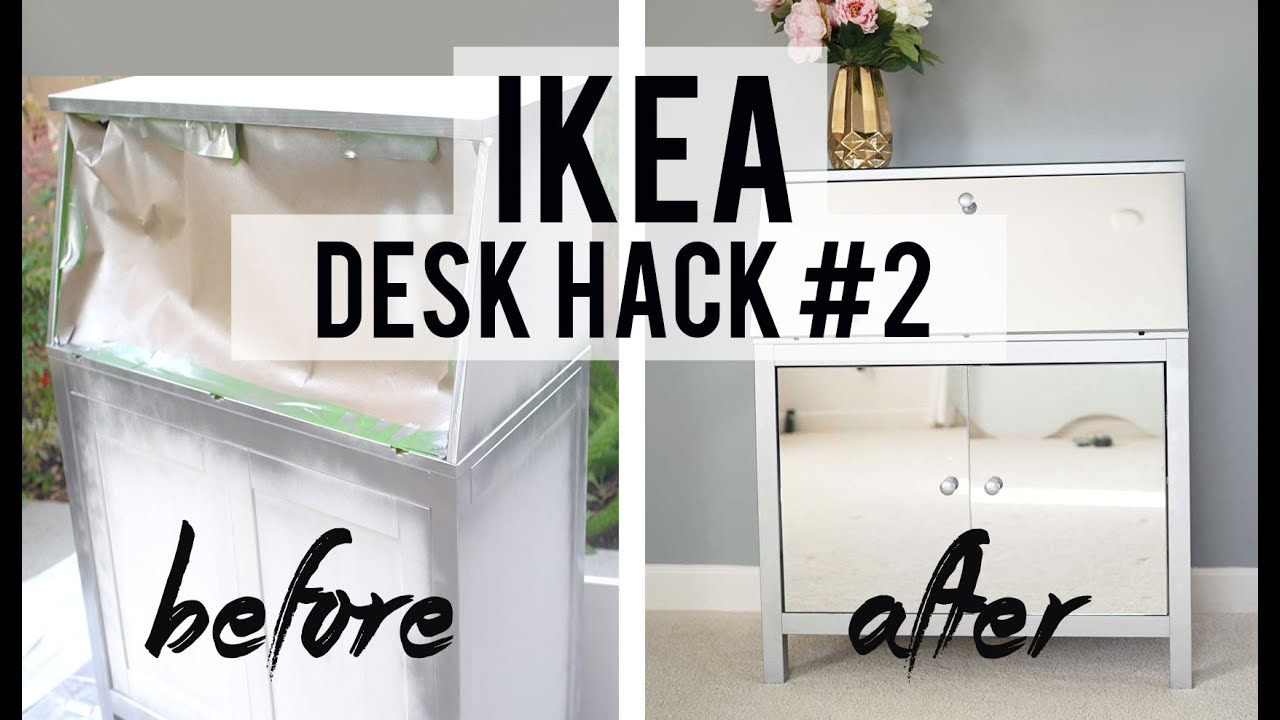 Diy Ikea Hacks Diy Mirrored Desk Ikea Desk Hack 2 Ann Le Youtube