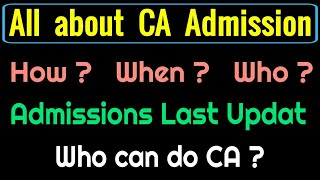 All about ca admission | CA Admissions | perfectinfo