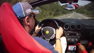 Driving Ferrari F430 Spider at high speed road