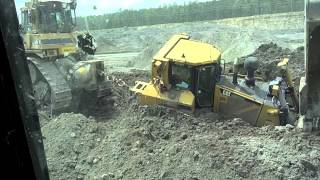 Caterpillar D-8 Bulldozer Stuck in the mud Cat D-9 Pull it out