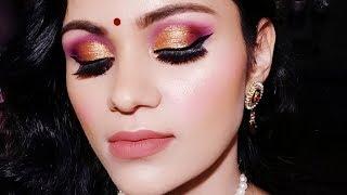 GLOWING पार्टी शादी के लिए मेकअप Party Wedding Guest Makeup Tutorial Hindi Purple Gold