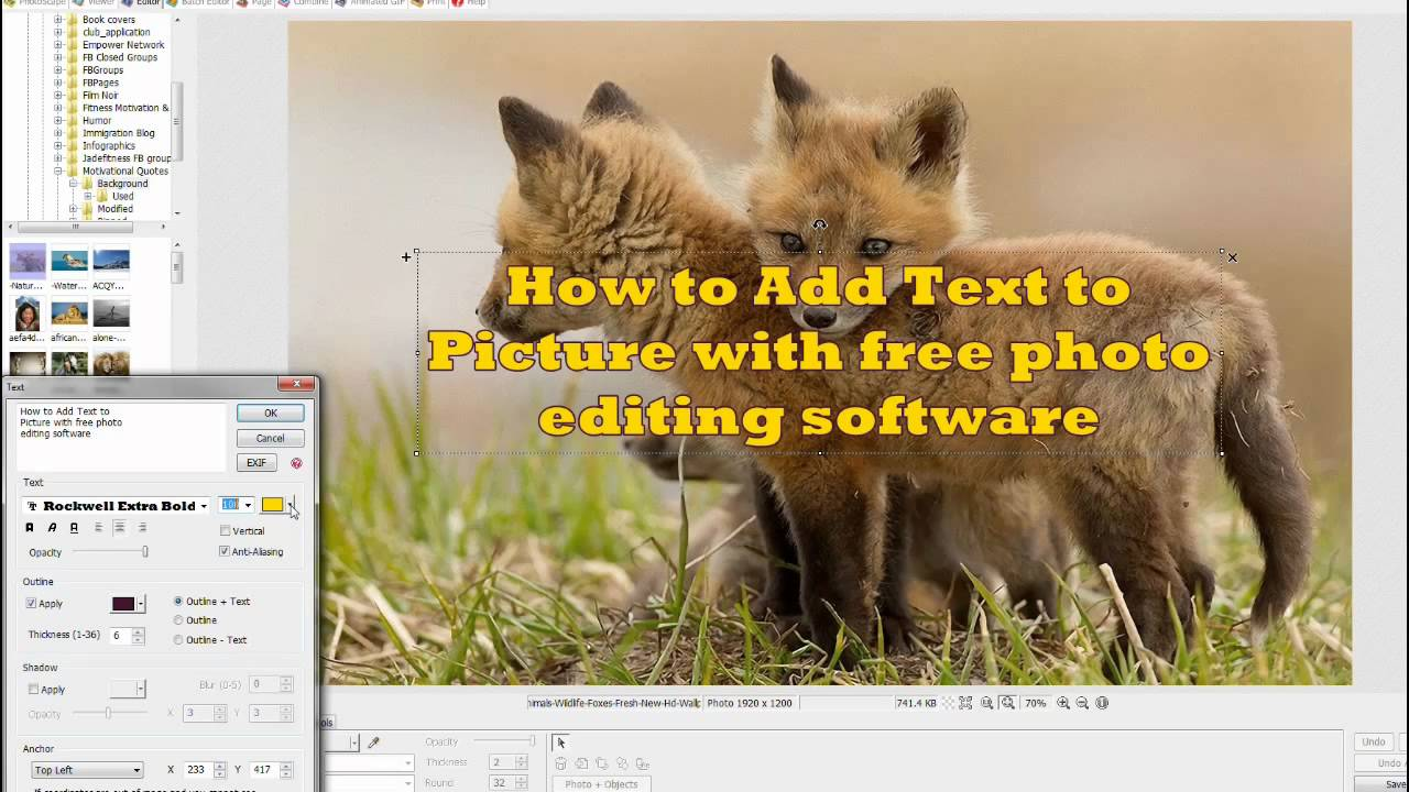 write text on photo software free download