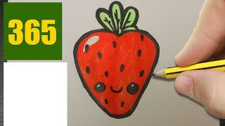 HOW TO DRAW A STRAWBERRY CUTE, Easy step by step drawing lessons for kids