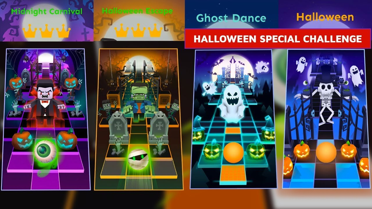 rolling sky all halloween theme levels - midnight carnival,halloween