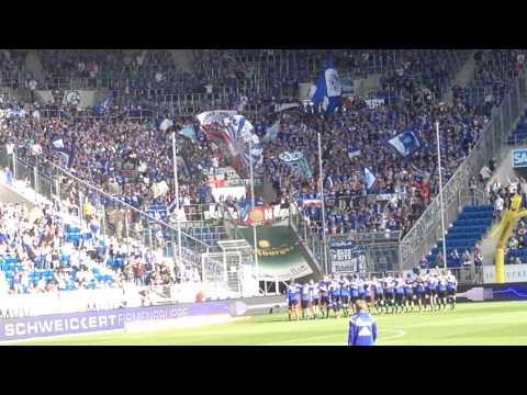 1899 Hoffenheim - FC Schalke 04 04.10.2014 - Einlauf der Spieler, Stimmung