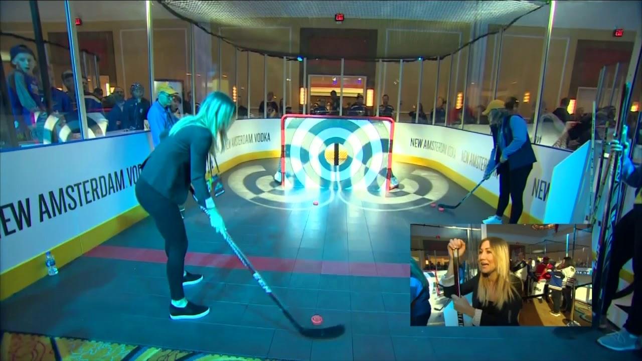 Sophia Jurksztowicz tries the Bullseye Challenge at NHL All-Star Weekend