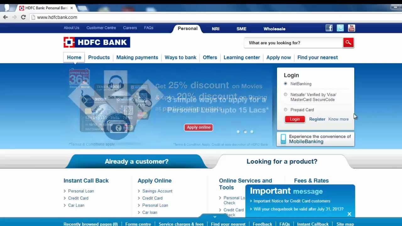 HDFC - How to login to HDFC Netbanking - YouTube Hdfc Netbanking