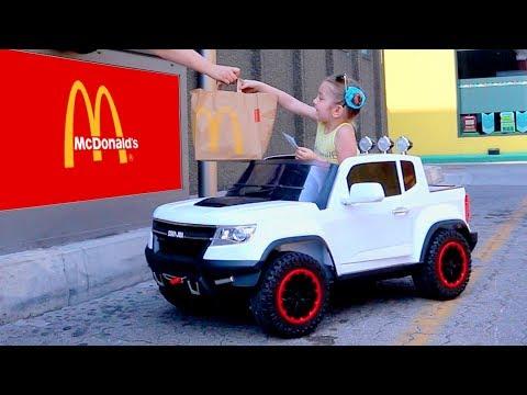 McDonalds Drive Thru Prank!! Power Wheels Ride On Car Pretend Play