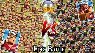 100 KING vs 100 Battle Machine Clash of Clans Gameplay | Max Barbarian king vs Max Battle Machine