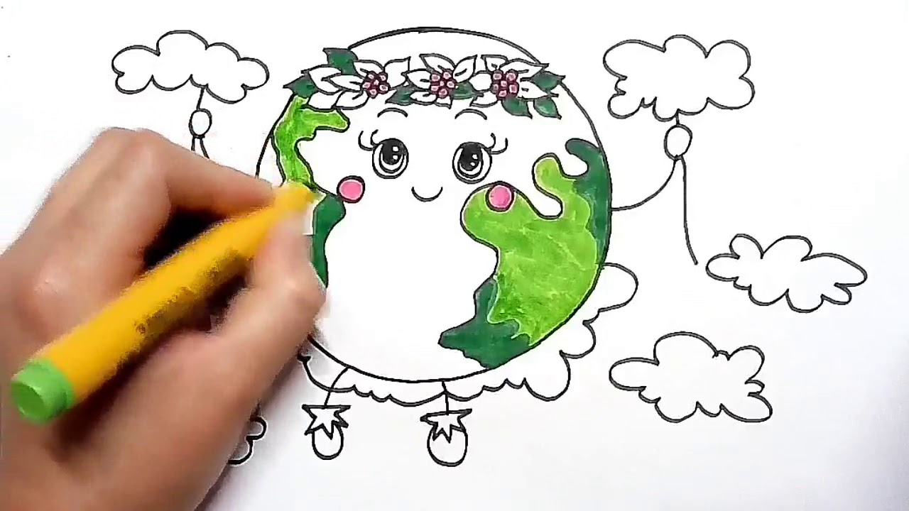 Earth day drawing || how to draw beautiful and green earth - YouTube