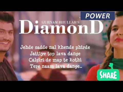 Diamond LYRICS - Gurnam Bhullar | Full Sond Lyrics | new punjabi songs 2018