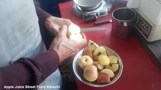 How to Make Fresh Apple Juice   Apple Juice Street Food Karachi   apple juice banane ka tarika