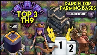 TOP 3 BEST TOWN HALL 9 [TH9] DARK ELIXIR BASE BUILDS! Save DE | BEST FARMING BASES - Clash Of Clans