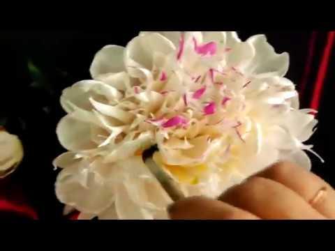 Пион и бутон из атласных лент/DIY Embroidery Ribbons