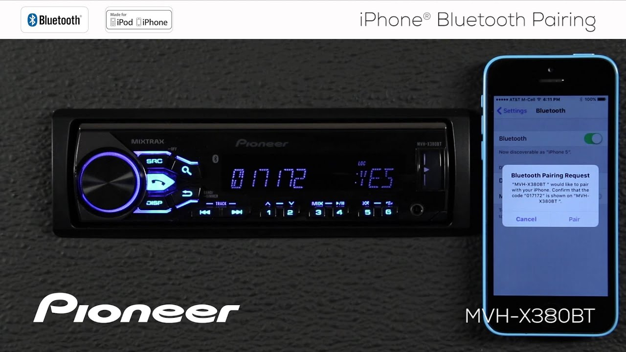 How To - MVH-X380BT - iPhone Bluetooth Pairing Harness Pioneer Wire Mvh X Bt on