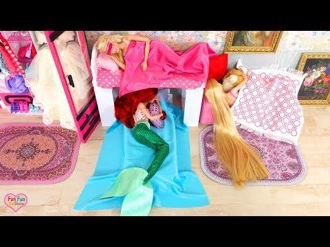 Mermaid Ariel Barbie Rapunzel Morning Routine Breakfast New Dresses
