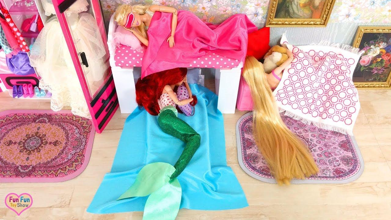 Mermaid Ariel Barbie Rapunzel Morning Routine Breakfast New Dresses Boneka Putri Duyung Pagi Sereia
