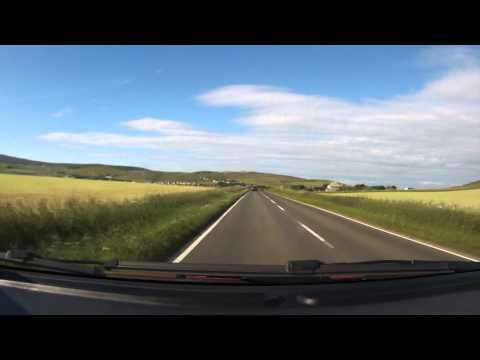 Car drive between Tingwall and Kirkwall, Orkney