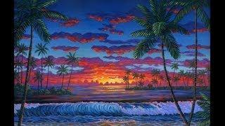 как рисовать на пляж в сумерках с использованием холст акрил живопись  урок искусство  класс