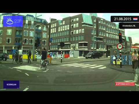 Driving through Amsterdam (Netherlands) from Oud-Zuid to Centrum 21.08.2015 Timelapse x4