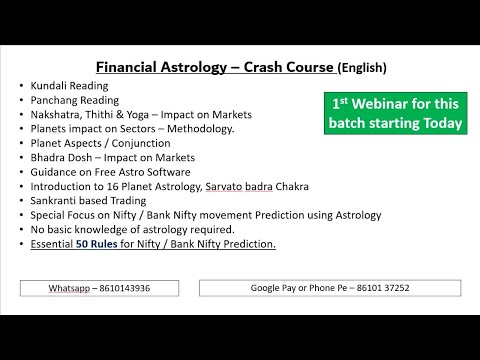 FINANCIAL ASTROLOGY COURSE STARTING TODAY