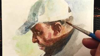 """Rockey"" 4""x6"", small watercolor portrait painting demo, by Zimou Tan"