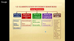 CLASSIFICATION OF ENERGY RESOURCES