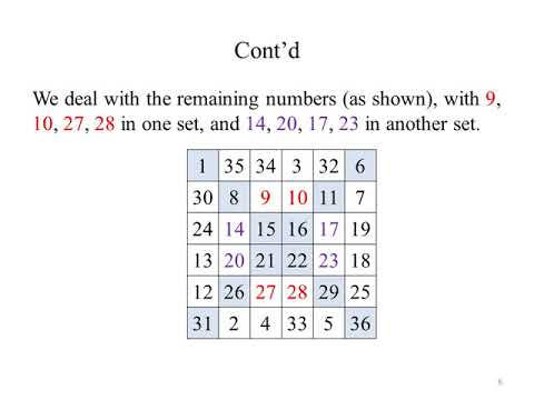 Constructing a 6x6 Magic Square