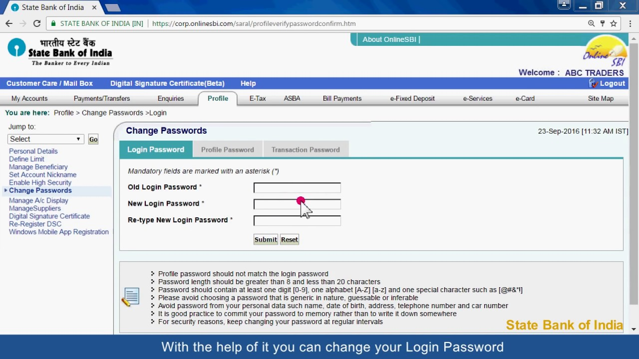 sbi online corporate login profile password