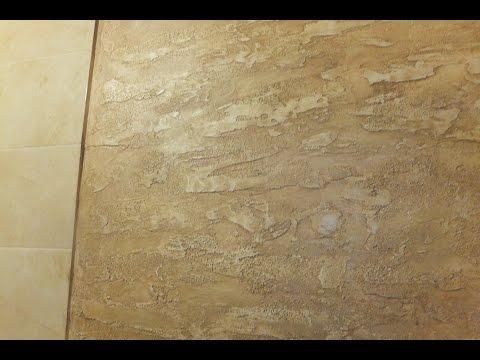 Декоративное покрытие в ванной комнате. Нанесение материала .