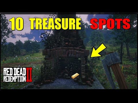 TOP 10 HIDDEN TREASURE SPOTS IN RED DEAD REDEMPTION 2 GOLD BARS, NUGGETS, JEWELRY & MORE! RED DEAD 2
