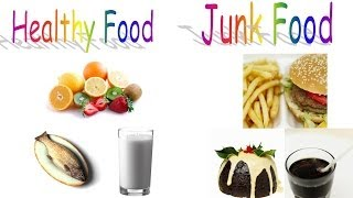 Healthy food and Junk food for preschool children and kindergarten kids