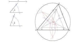 Triángulo dados dos ángulos y el radio de la circunferencia circunscrita