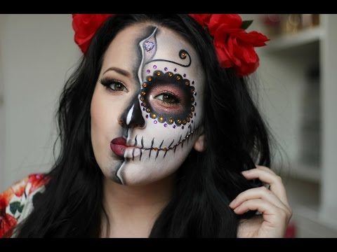 sugar skullday of the dead makeup tutorial halloween