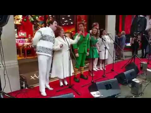 BEN FORSTER - Ben and Elf musical cast performing at Hamleys Toy Store