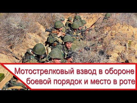 Мотострелковый взвод - боевой порядок и место в обороне роты
