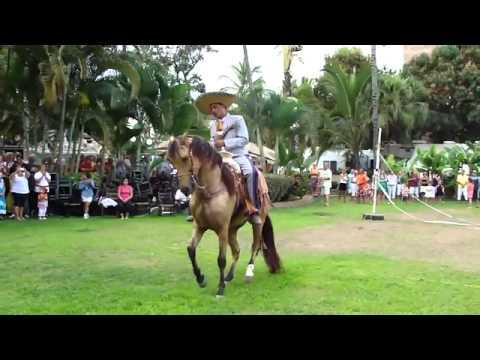 Aztec horse dancing  in a ranch