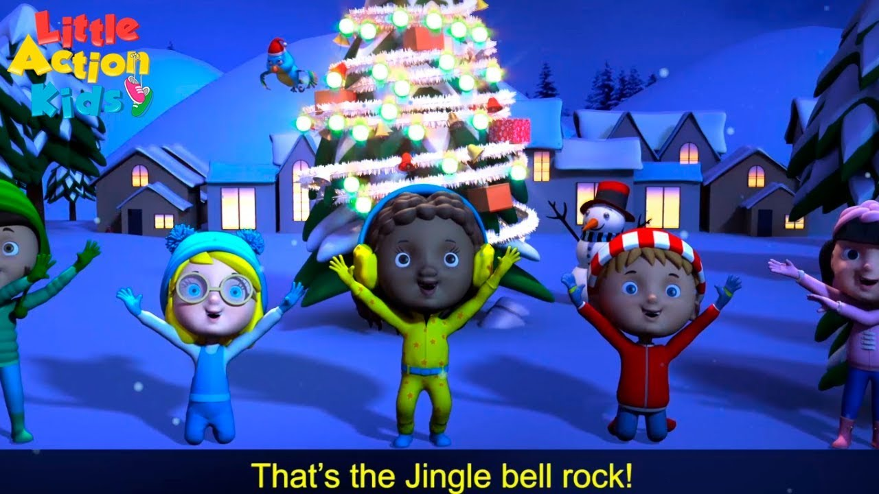 jingle bell rock with lyrics christmas songs and carols sing dance along little action kids