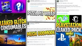 *NEW* Fortnite: Leaked Glitch Consumables, PlayStation+ Bundle, MECH Godmode Bug, & Pizza Pit Wrap!