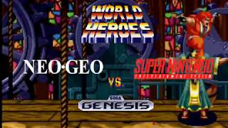 World Heroes Comparison - Neo Geo vs. Super NES vs. Genesis
