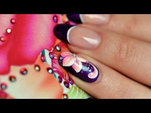 Nail Art One Stroke Russian Flowers Youtube