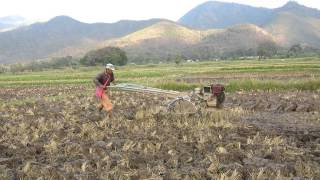 Walking through rice fields, farm machine, Inle Lake, Burma, 2015-01-19
